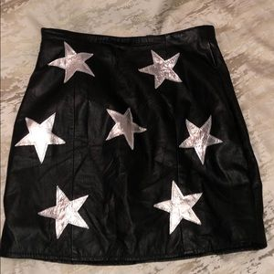 Nasty Gal After Party Vintage Leather Star Skirt
